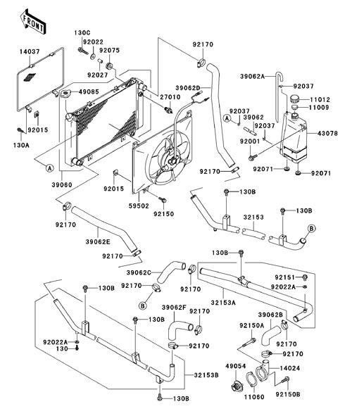 Kawasaki Mule 3010 Engine Cooling System Diagram on kawasaki atv engine oil