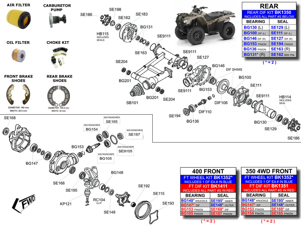 atvworks com trx350 rancher parts diagram rh atvworks com Honda Rancher 350 Parts Diagram Honda Rancher 350 ES Parts