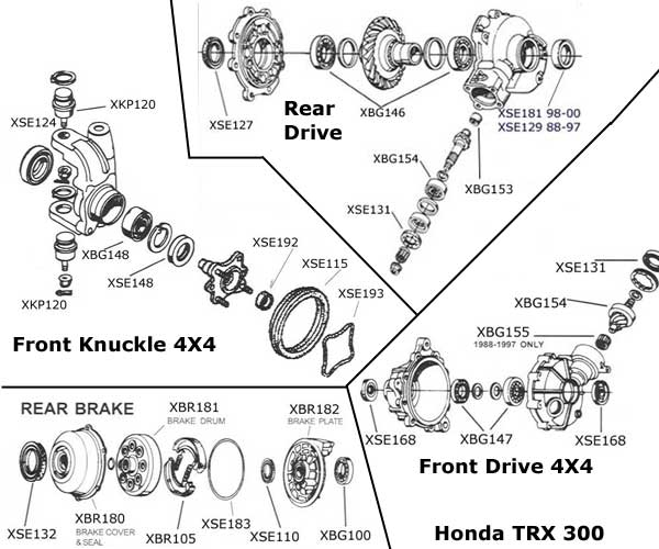 honda atv 300 4x4 engine diagram