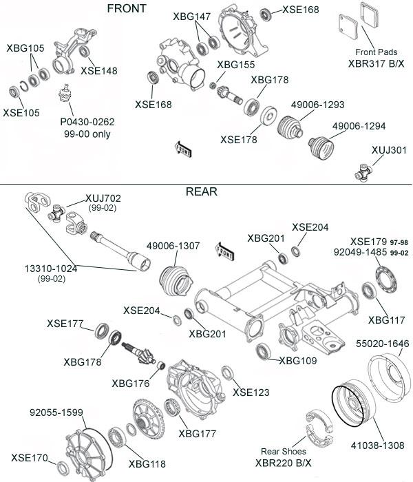 Kawasaki Klf300  Klf400 Bayou Parts Diagram